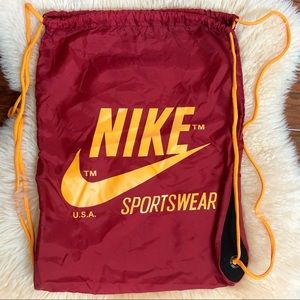 NIKE Cinch Drawstring Bag Backpack Style Red Gold